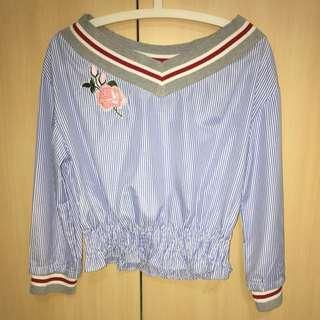 BN Pretty Chic Blue & White Striped Blouse
