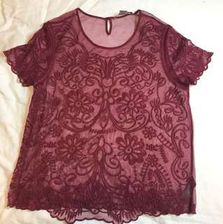 Lace burgundy top
