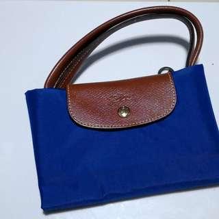 Longchamp Blue Le Pliage Large Tote Bag (short handle)