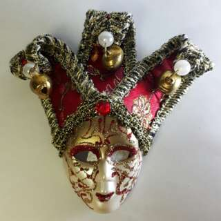 Souvenir 3D Mask Ref Magnet (Annual Festival Carnival of Venice, Italy) RED 5 Inches