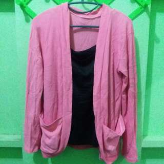 Knitted style pink cardigan