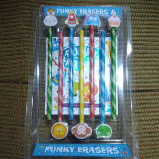 BRANDNEW 7 pieces Pencil with Erasers with Puzzle and Doodle Notebook