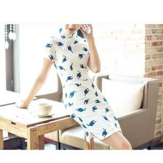 Cat Print Cheongsam Dress Qipao