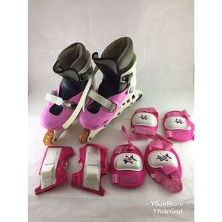 Girls roller skates with elbows and knees protector