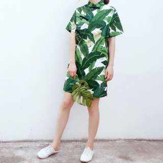 Palm Leaves Printed Cheongsam Dress Qipao Resort
