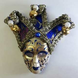 Souvenir 3D Mask Ref Magnet (Annual Festival Carnival of Venice, Italy) BLUE 5 Inches