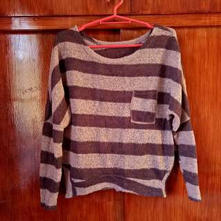 Brown striped knitted top