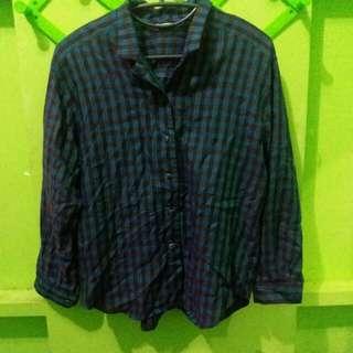 Preloved: Checkered blouse polo (plus size)