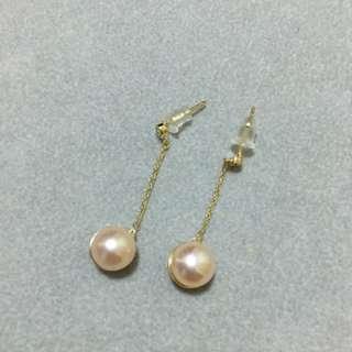 純銀鍍黃金天然珍珠耳環(沒有配耳托)