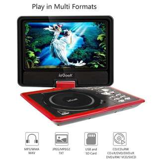 """ieGeek 11.5"""" Portable DVD Player, 5 Hour Rechargeable Battery, 360°LCD Eye Protection Swivel Screen, Support SD Card and USB, Play in Formats CD/VCD/MP3/AVI/JPEG, Red"""