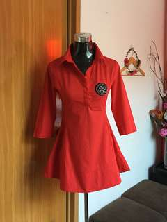 Fit and Flare Collar Red Dress