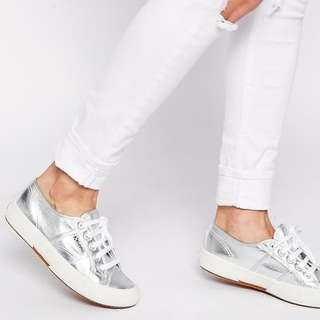 CLOSING SALE --- Original SUPERGA People's Shoes of Italy Grey Silver