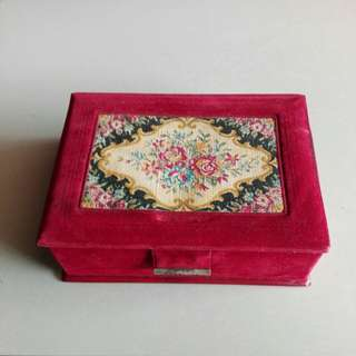 Antique Tapestry Jewelery Box