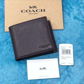 USA Coach F59112 Compact ID Men Wallet Crossgrain Leather Oxblood