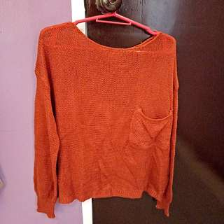 Orange knitted summer cover up