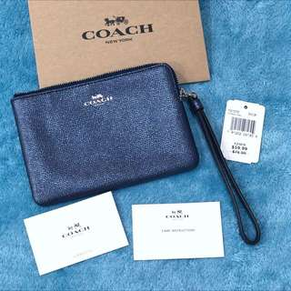 USA Coach F21070 Corner Zip Wristlet Crossgrain Leather Metalic Navy