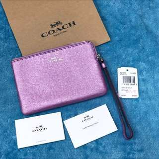 USA Coach F21070 Corner Zip Wristlet Crossgrain Leather Metalic Lilac