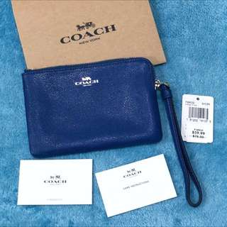 USA Coach F21070 Corner Zip Wristlet Crossgrain Leather Bright Mineral