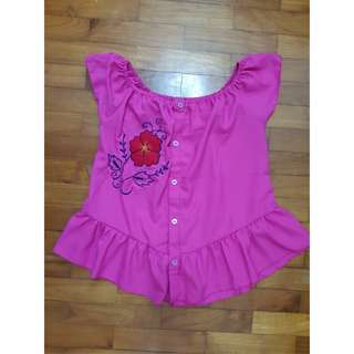 Fuschia Baby Doll Top