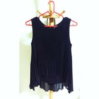 Pleated Top Black Uneven Hem