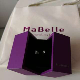 MaBelle 18K white gold diamond earrings 白金鑽石鑲嵌耳環