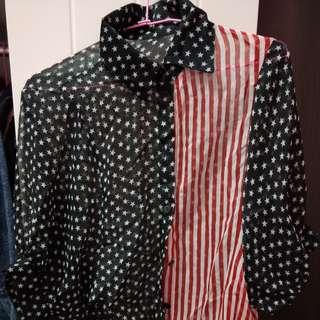 🚚 豹紋長襬襯衫 滿版星星襯衫 單件賣