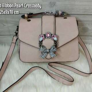 Original ALDO ribbon pearl crossbody  bag