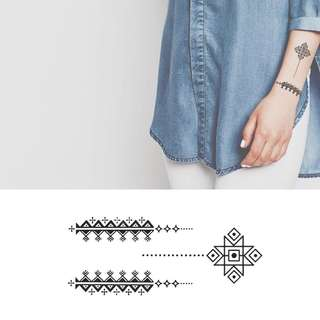 BN Instock Temporary Tattoo Temp Tattoos Tribal Shapes Tattoo Aztec Pattern Hand