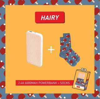 The Coopidea Hairy 2.4A 6000 MAH Power Bank + Socks