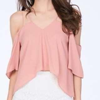 The Closet Lover Cold Shoulder Top In Rose Pink