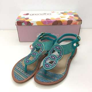 Grendha 巴西尺寸33/34,35,36(神祕印加女郎夾腳平底涼鞋-土耳其綠)