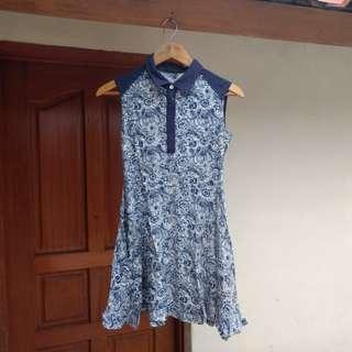 Paisle dress biru indigo