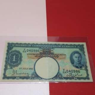 $1-Malaya 1941 original gef.