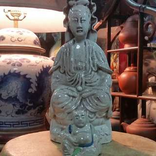 Antique China Ceramic Chow Chew Porcelain Guan Yin & Laughing Buddha.清朝末期潮州陶瓷观音菩萨像。