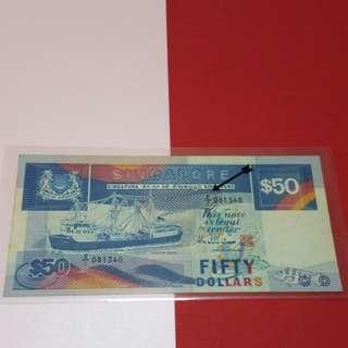 $50- ship 1st series light blue unc minor ageing.