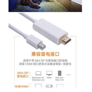 mac蘋果筆記本電腦macbook雷電轉hdmi轉換器mini迷你dp轉接視頻線