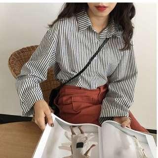 韓國新款百搭單排扣竪條紋顯瘦襯衫女上衣
