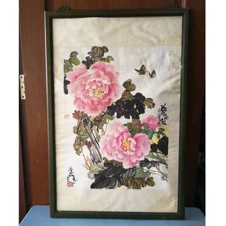 Drawing Painting Flower  With Wooden Frame (L.66 X H.99 cm) * K98 C