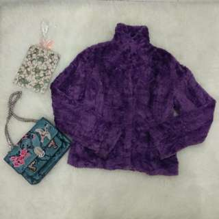 Faux fur purple blazer