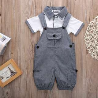 Pudcoco Infant Clothing Baby Boys T shirt and Dungaree Shorts 2-piece Newborn Formal Clothes
