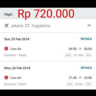 Tiket Murah Jakarta - Yogayakarta (PP)