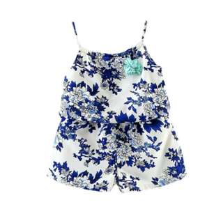 Baby Girls Chiffon Floral Suspenders Summer Set 2 PCs Kids Clothes Suits Toddler Children Boutique Outfit