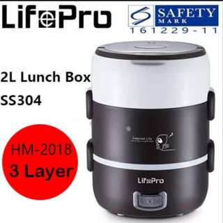 (25% Offer!) Lifepro Electrical Lunch Box/Rice Cooker Stainless Steel Portable Cooking Appliances