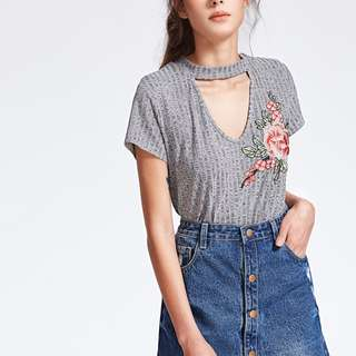 Cutout V Neck Embroidered T shirt