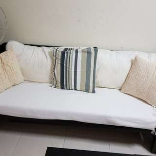 WOODEN SOFA with 2 big white Pillows and foam(price is negotiable)