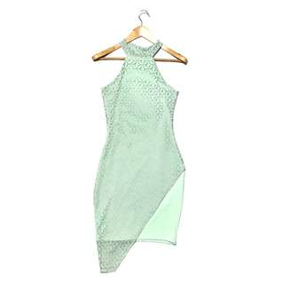 Pastel Green Asymmetrical Bodycon Dress