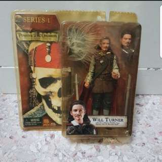In Stock Series 1 Disney Pirates Of The Caribbean The Curse Of The Black Pearl Will Turner With 2 Cutlasses, Flexible Cape, Hatchet, Hat, And Alternate Head