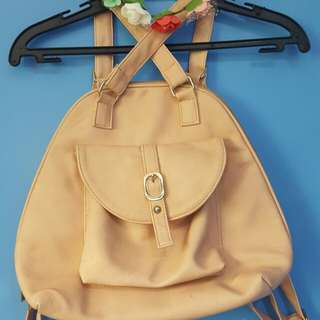 Peach Two-way convertible leatherette bag
