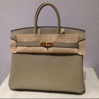 全新未使用柏金25愛馬仕包 手袋包包Birkin 25 Hermes new swift sauge color