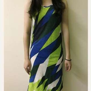 Soulout 藍綠幾合長洋裝 巴黎女伶